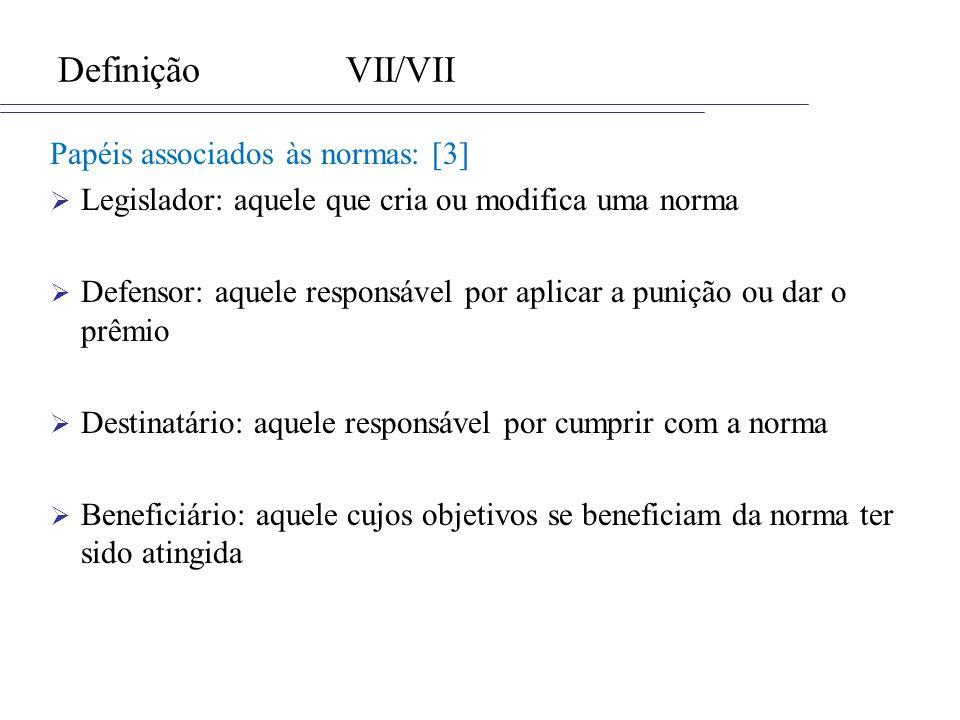 Definição VII/VII Papéis associados às normas: [3]